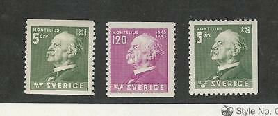 Sweden, Postage Stamp, #345 Mint Hinged, 346-347 Mint NH, 1943 Montelius
