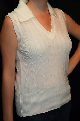 S White Knit Vtg 70s Cable Knit V-Neck Collar Sweater Vest Blouse Sleeveless Top