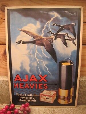 Ajax Heavies Pack With The Power Of A Thunderbolt Gun Shell Tin Sign