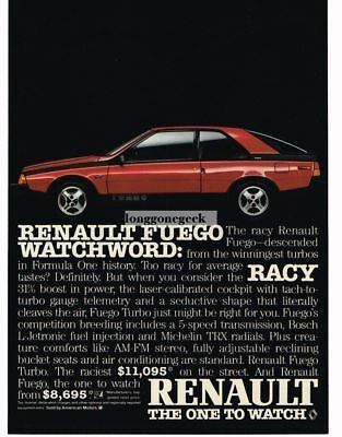 1984 Renault Fuego Red, Blue Turbo Vtg Print Ad