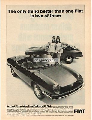1967 Fiat 850 Coupe Convertible Twin Girls Vtg Print Ad