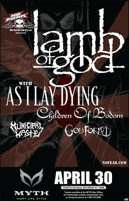 Lamb Of God/as I Lay Dying/children Of Bodom 2009 Minnesota Concert Tour Poster