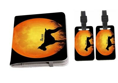 Border Terrier Dog Silhouette By Moon Passport Holder with Luggage Tags
