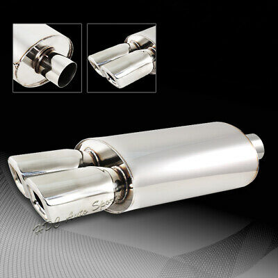 """3/"""" REM Style DTM Dual Square Tip Stainless 2.5/"""" Inlet Weld-on Muffler Exhaust"""