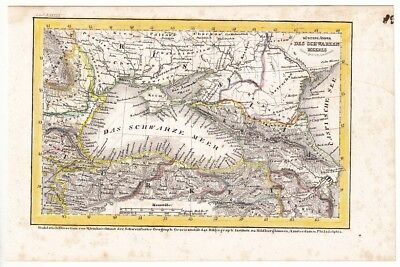 1849 The RUSSIAN - TURKISH War The BLACK SEA COUNTRIES The Seat of War Color MAP