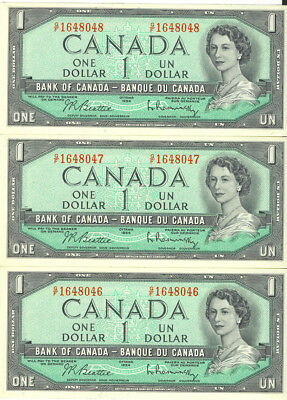 Bank of Canada 1954 $1 One Dollar Lot of 3 Consecutive Notes G/F Prefix AU+