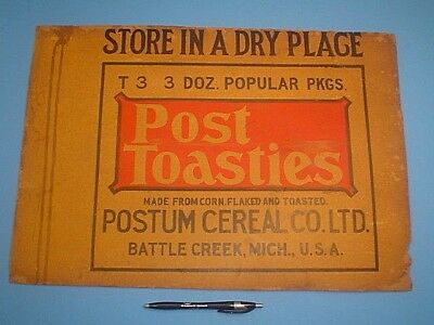 VINTAGE EARLY 1900's POST TOASTIES 3 DOZEN SHIPPING BOX CRATE SIDE sign