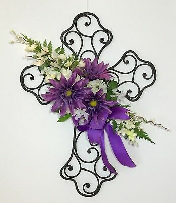 Easter Wrought Iron Metal Cross Purple White Flowers Swag Decoration Wall Door