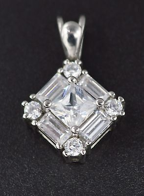 PM31 2.5ct Created Diamond Round Princess and Baguette Pendant 14k White Gold