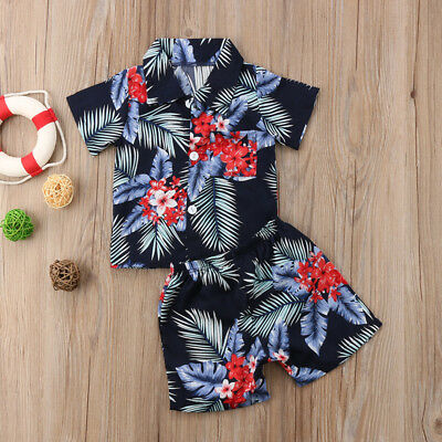 Toddler Infant Kid Baby Boys Summer Beach Clothes T-shirt Tops+Pants Outfits Set