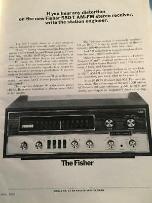 Vintage 1968 Advertisement The Fisher 550-T Stereo Receiver ~ Ad ~  Hi Fi