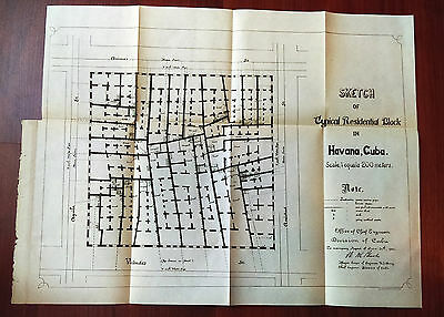 1900 Engineering Sketch Map Diagram of Residential Block in Havana Cuba