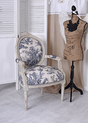 French CHAIR BAROQUE Country House Toile de Jouy Chair Shabby Chic