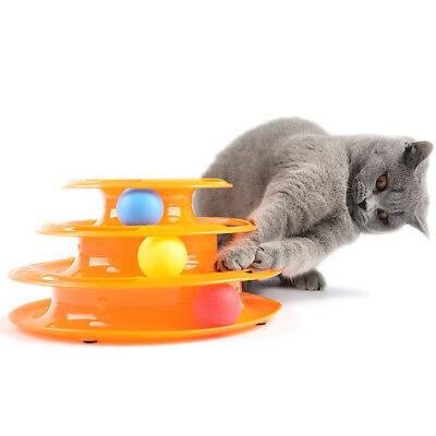 Funny Pet Cat interactive Crazy Ball Disk Amusement Game Trilaminar Toy Tower