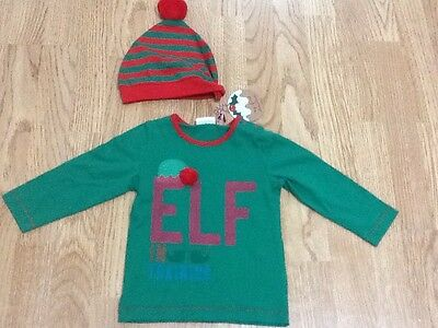 Baby Boys Size 6-9 Months Next Green Elf Top & Red & Green Striped Hat - New
