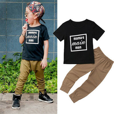 Infant Toddler Baby Kids Boys mama's main man Letter Clothes Long Pants Outfits