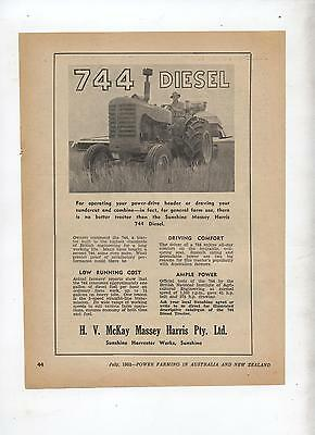 Massey Harris 744 Tractor Advertisement removed from 1952 Farming Magazine