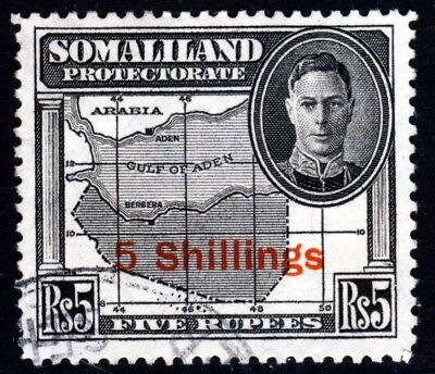 SOMALILAND KG VI 1951 New Currency Surcharge 5 Shillings on 5 Rupees SG 135 VFU