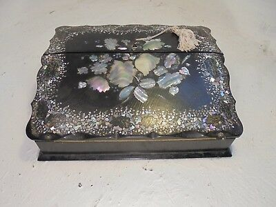 Antique Papier Mauche Writing Slope  Box Mother of Pearl inlay  ,    ref 4337