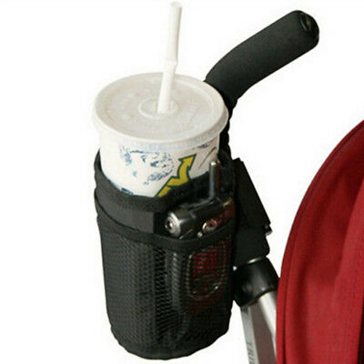 Baby Stroller Insulated Cup Bottle Holder Drink Keys Phone Pocket Bag Black