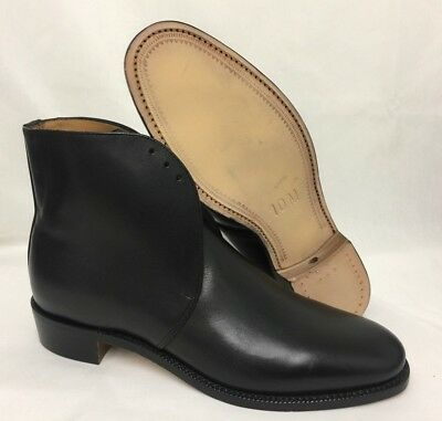 GEORGE BLACK LEATHER ANKLE DRESS BOOTS - Size: 10 Medium  British Army , NEW