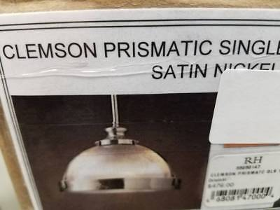 Restoration Hardware Clemson Prismatic Single Pendant 14 Satin Nickel