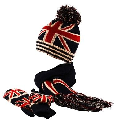 Ribbed Knit GB Union Jack Beanie Fingerless Gloves Mittens Scarf Set Cap Hat