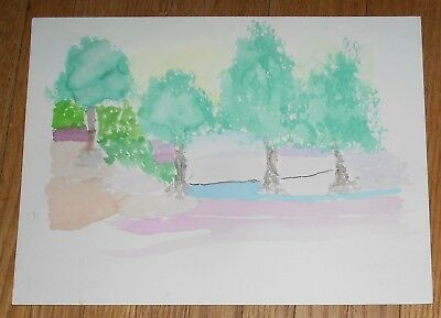Original Watercolor Painting of Four Trees in a Landscape