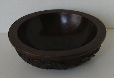 Floral Foliate Relief Pattern Carved Wood Antique Bowl