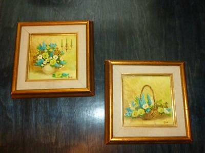 "2 Vintage Yellow & Blue Floral Vase & Basket Small 4"" Framed Art Painting Ford"