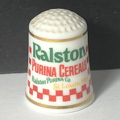 FRANKLIN MINT PORCELAIN THIMBLE 1980 advertising Ralston Purina cereal breakfast