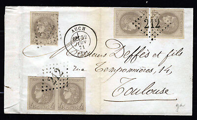 FRANCE 1871 Cover AUCH-TOULOUSE 5 Examples of Rare 4c. CERES IMPERFORATE SG 155