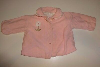 Vintage Baby Girls Pink Coat with flannel Lining ~ Size 6 - 9 months