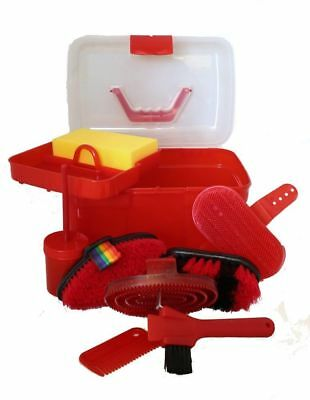 Horse Grooming Box Set 9 Pieces Barn Stable Supply Brushes Comb Hoof Pick Red