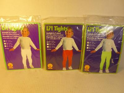 New in Pkg 3 Pair Girls Tights White Red & Lime Color Size 4-6 40-55 lbs KS006