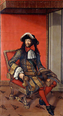 ANTOINE DIEU Portrait of King Louis XIV ROYAL THRONE embroidered CANVAS/PAPER!