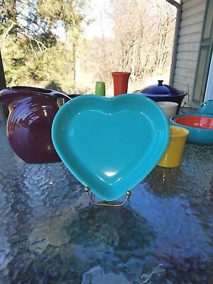 heart BOWL large FIESTA ware SERVING CANDY NUT bowl TURQUOISE BLUE 19 oz