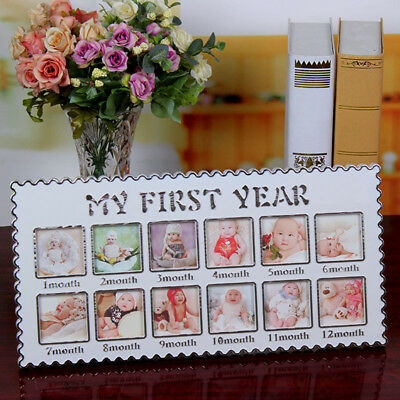 Infant 12 Month Photo Frame Newborn First Year Pictures Display Holder Kids Gift
