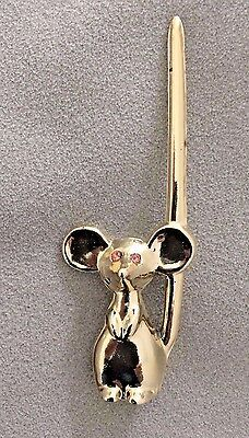 Vintage GOLD TONE Mouse Letter Opener PINK RHINESTONE EYES LONG TAIL