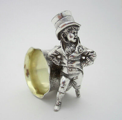 Antique Silverplate Figural Napkin Ring Dapper Dandy Young Man Boy in Top Hat