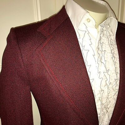 Vtg 60s 70s Towncraft Red TUXEDO Jacket Mens SMALL Sport Coat Prom Suit Blazer