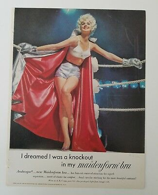 1961 women's arabesque Maidenform bra blonde dreamed was a knockout boxing ad