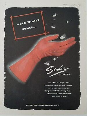 1948 Eisendrath Co Sendra women's red fashion gloves vintage ad
