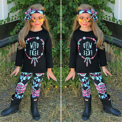 Toddler Girls Kids Floral Top Blouse Pants Headband 3Pcs Outfit Set Clothes 2-7T