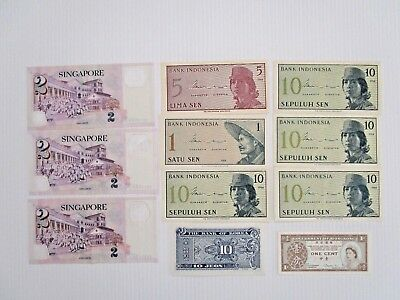 Vintage Old Indonesia Singapore Bank Notes Paper Money Old - Free Post Lot 2