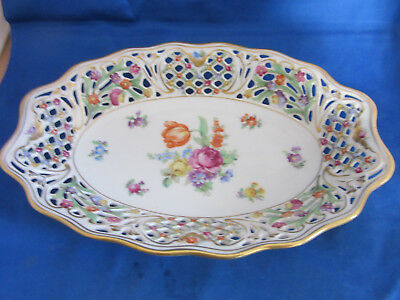 Vintage Schumann Bavaria Germany US ZONE Chateau reticulated bowl