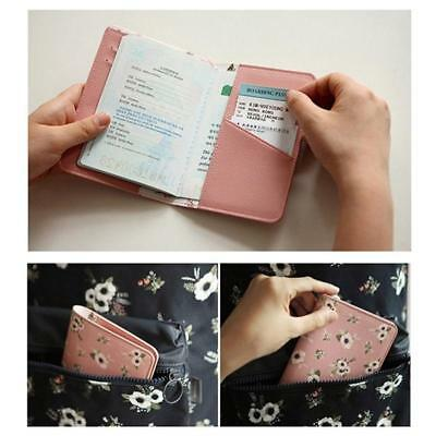 Animals Flower Faux Leather Passport Holder Cover Travel Wallet Organize Bag BS