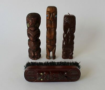 Vintage Retro 70s TIKI ORNAMENTS Carved Statue CANDLE Ceramic BRUSH New Zealand