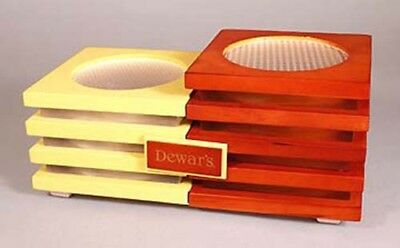 New DEWAR 2 tone Wood & Lucite LIGHTED 2 Bottle Stand !