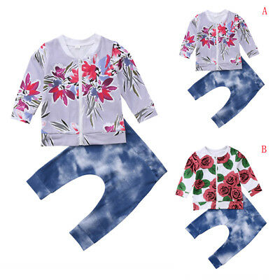 2PCS Cute kids baby Girl Outfits Floral Tops+Destroyed Jeans Long Sleeve Clothes